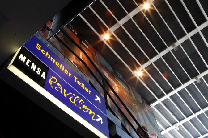 Neben dem MensaBistro und der MensaBar im Erdgeschoss gibt es im Hauptgeschoss den MensaPavillon © P. Mesenholl 2009